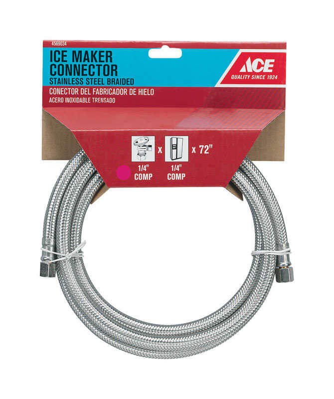 Ace  1/4  Compression  1/4  Compression  Braided Stainless Steel  72 in. L Ice Maker Supply Line