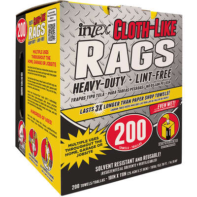 Intex  Cloth-Like  Fiber Blend  Wiping Rags  10 in. W x 11 in. L 200 pk