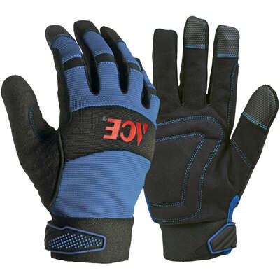 Ace  L  Leather Palm  Winter  Blue  Gloves