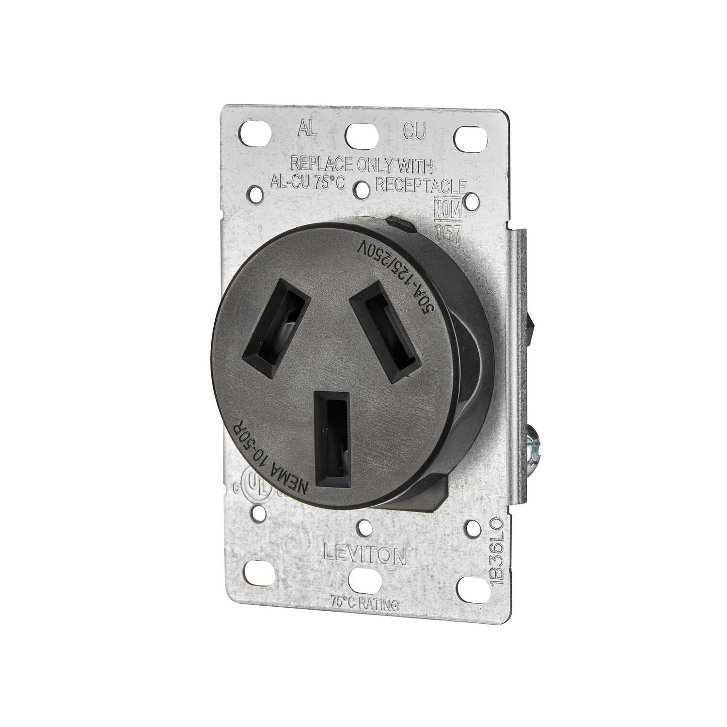 Leviton  50 amps 125/250 volt Black  Outlet  10-50R  1 pk