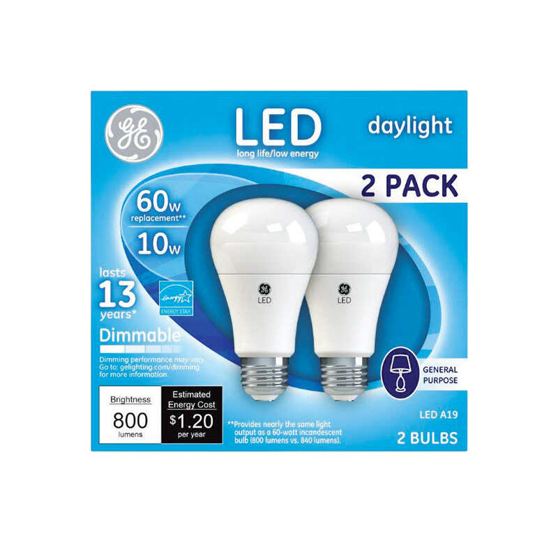 GE  10 watts A19  LED Bulb  800 lumens Daylight  60 Watt Equivalence