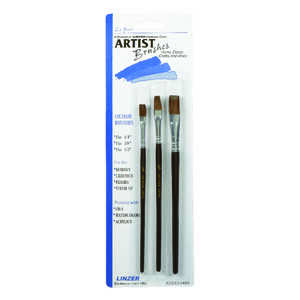 Linzer  1/4, 3/8, and 1/2 in. W Ox Hair  Artist Paint Brush Set  Flat