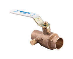 Watts  1/2 in. Brass  Solder  Ball Valve with Drain  Full Port