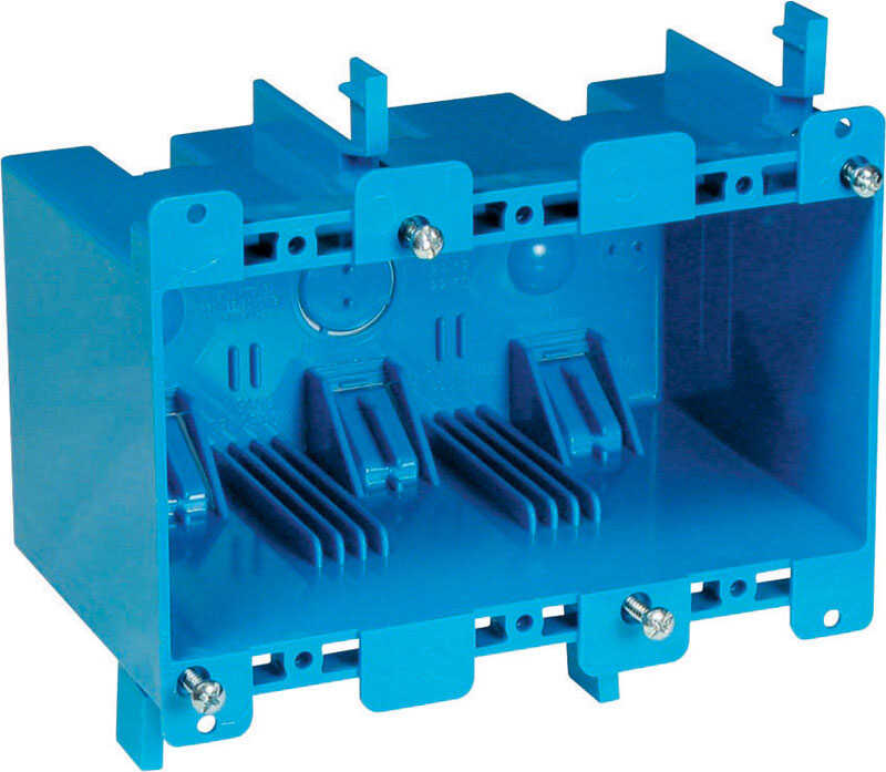 Carlon  5-3/4 in. 3 Gang  3 gang PVC  Outlet Box  Blue  Rectangle