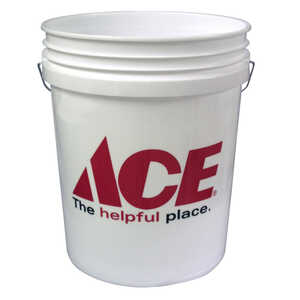 Ace  5 gal. Plastic  Bucket  White
