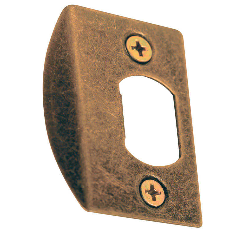 Prime-Line  2.25 in. H x 1-5/8 in. L Antique Brass  Steel  Deadbolt Strike