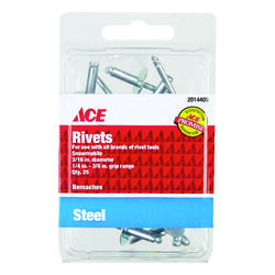 Ace  3/16 in. Dia. x 3/8 in.  Steel  Rivets  Silver  25 pk