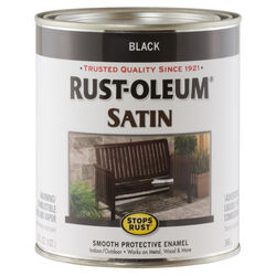 Rust-Oleum Stops Rust Satin Black Oil-Based Protective Paint 1 qt. Exterior and Interior