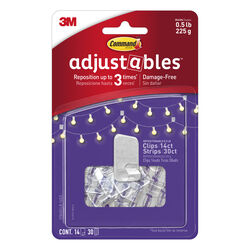 3M  Command adjustables  Small  Brushed  Clear  Plastic  6.75 in. L Hook  0.5 lb. 14 pk