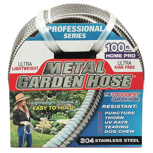 Swan  1/2 in. Dia. x 100 ft. L Silver  Stainless Steel  Garden Hose