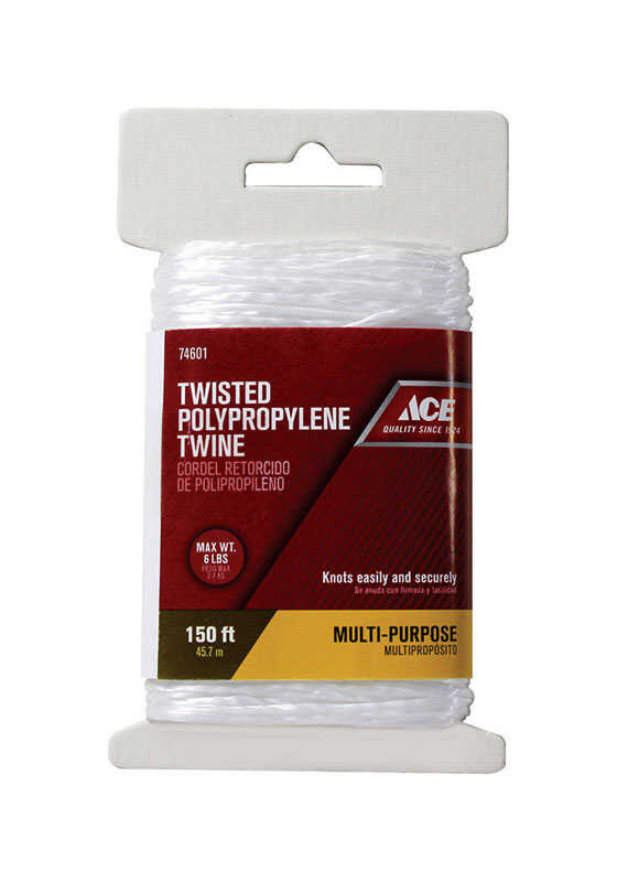 Ace  150 ft. L White  Twisted  Twine  Poly