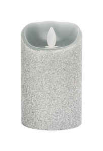 Iflicker  Silver  Pillar  Candle  5 in. H x 3 in. Dia.