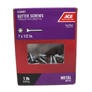 Ace  7 Sizes  x 1/2 in. L Slotted Drive  Hex/Slotted  Zinc-Plated  Hex Washer Head Gutter Screws  1