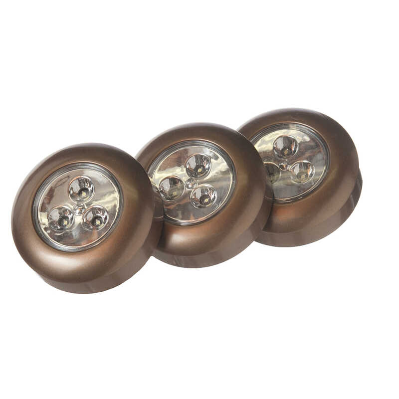 Fulcrum  LIGHT IT  Bronze  Battery Powered  LED  Puck Light  3 pk