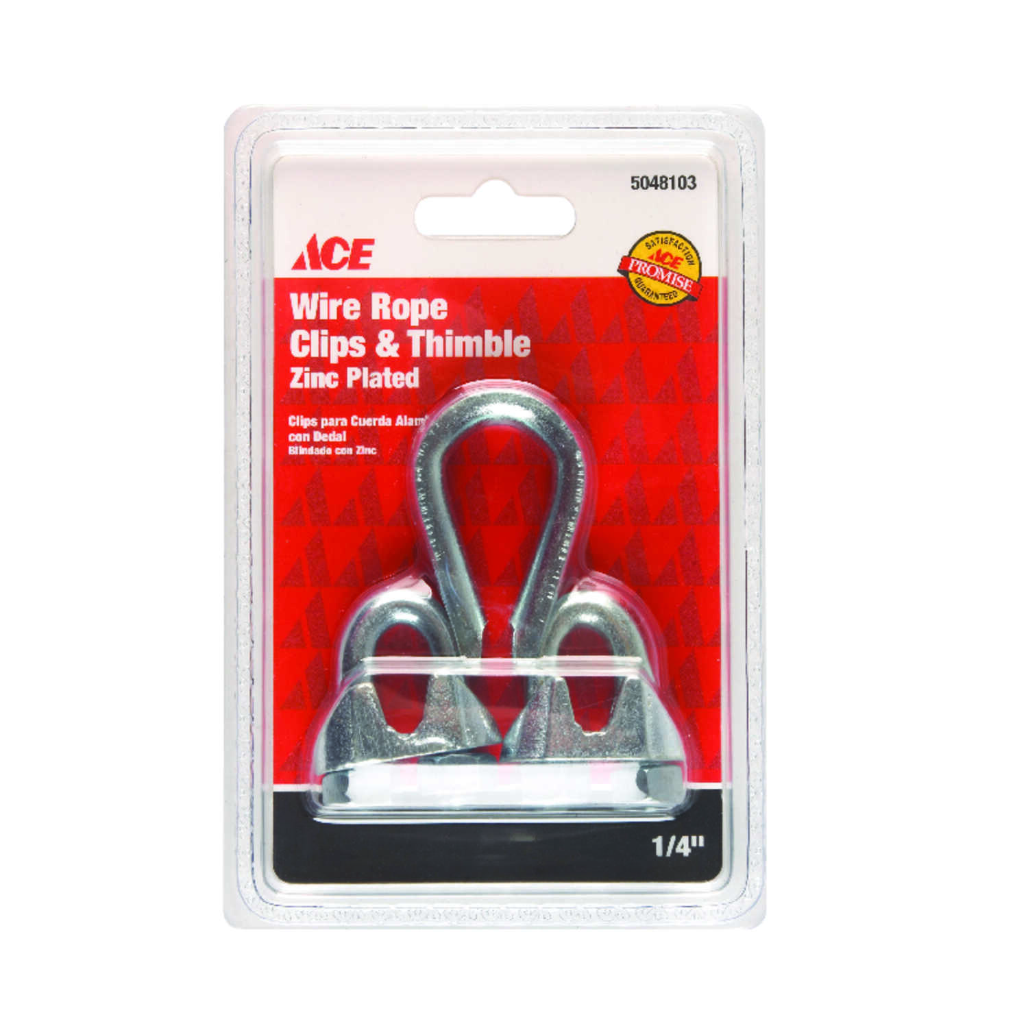 Ace  Galvanized  Steel  Wire Rope Clips and Thimble  1/4 in. L