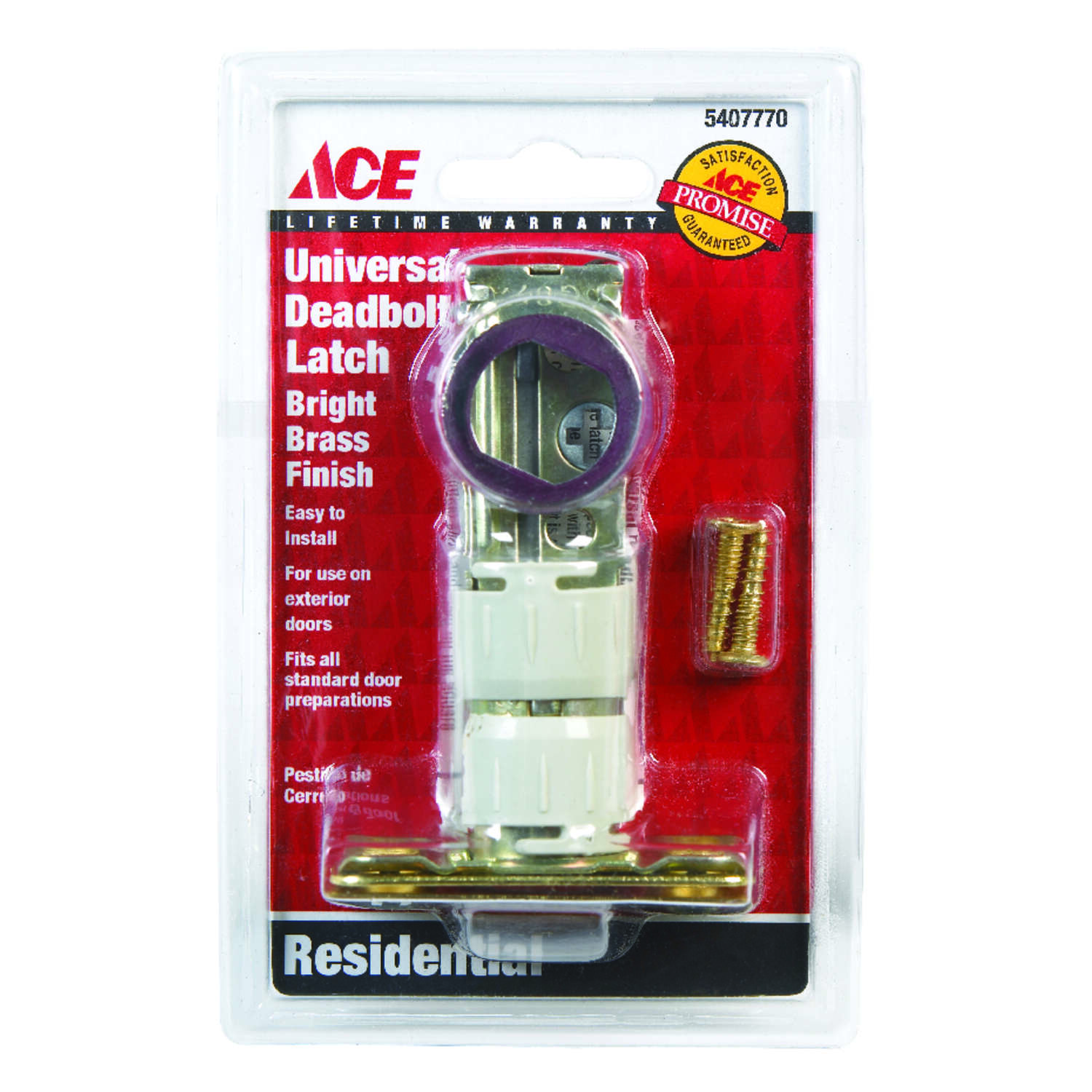 Ace  Bright Brass  Steel  Deadbolt Latch  1 pk