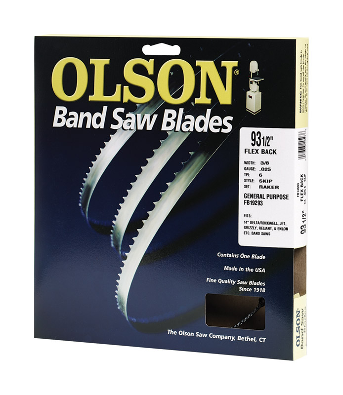 Olson  0.4 in. W x 0.02 in.  x 93.5  L Carbon Steel  Band Saw Blade  4 TPI Skip  1 pk