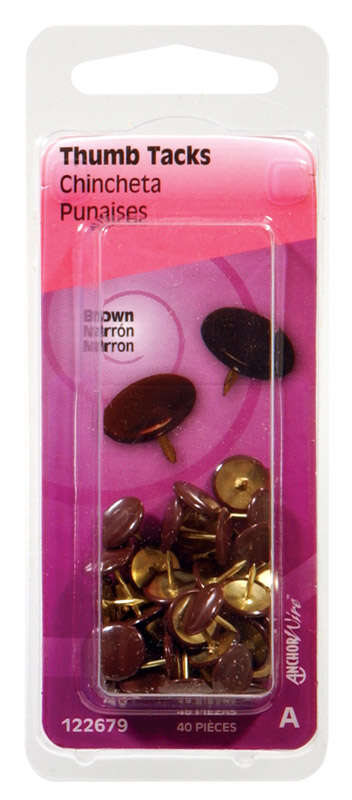 Hillman Brown Push Pins 40 pk