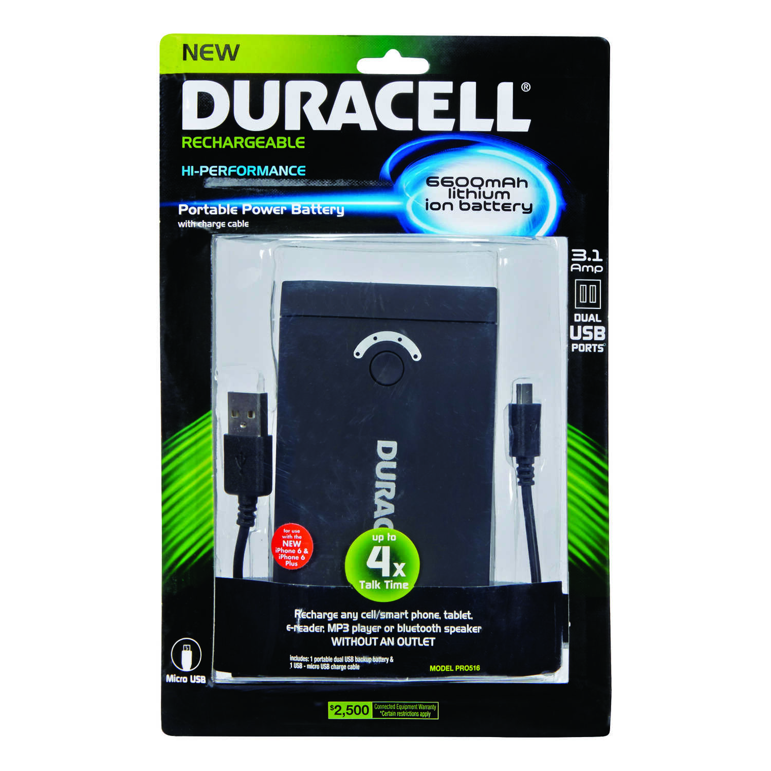 Duracell  3 ft. L Backup Charger  1 pk