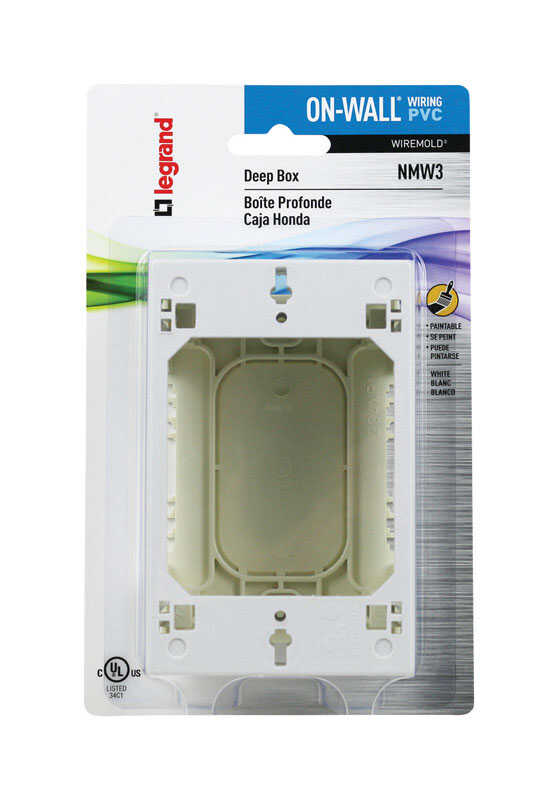 Wiremold  Rectangle  1 Gang  1-7/16 in. Outlet Box  White  1 gang Plastic