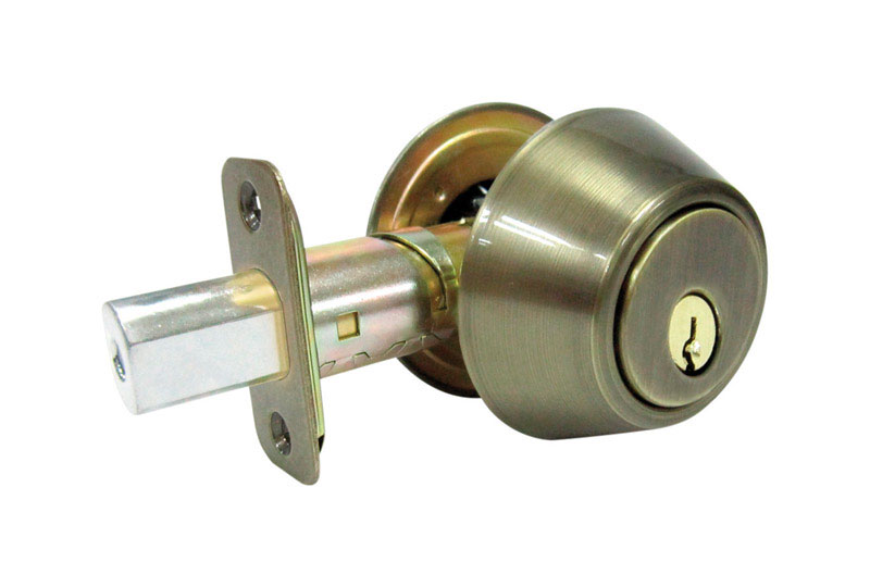 Faultless  Antique Brass  Metal  For Exterior Doors where Keyed Entry and Security is Needed Double