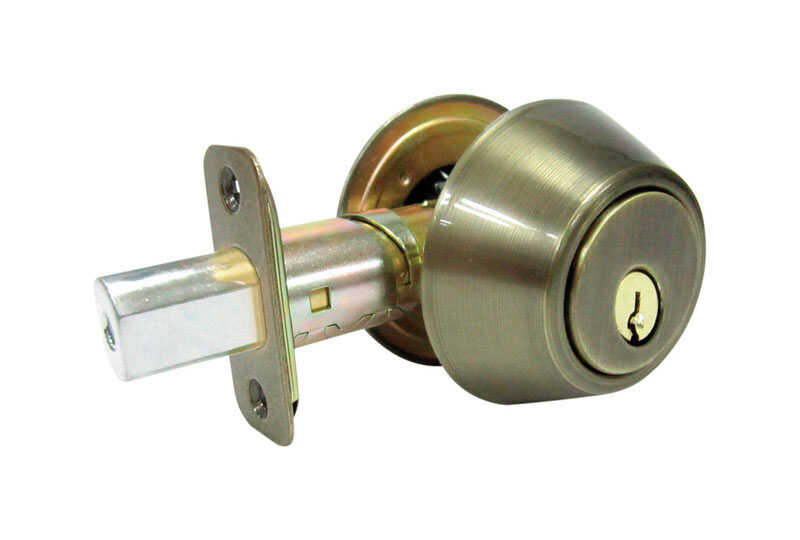 Faultless  Antique Brass  Metal  Double Cylinder Lock  ANSI Grade 3  For Exterior Doors where Keyed
