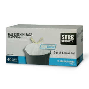 Sure Strength  13 gal. Tall Kitchen Bags  Drawstring  40 pk