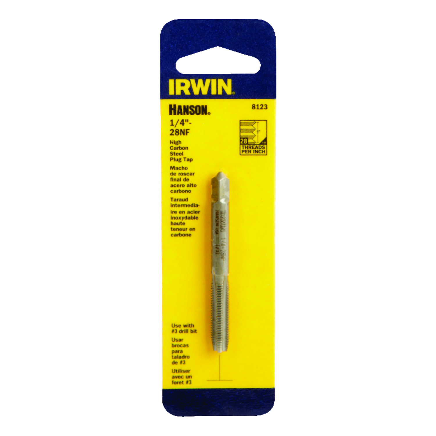 Irwin  Hanson  High Carbon Steel  SAE  Fraction Tap  1/4 in.-28NF  1 pc.
