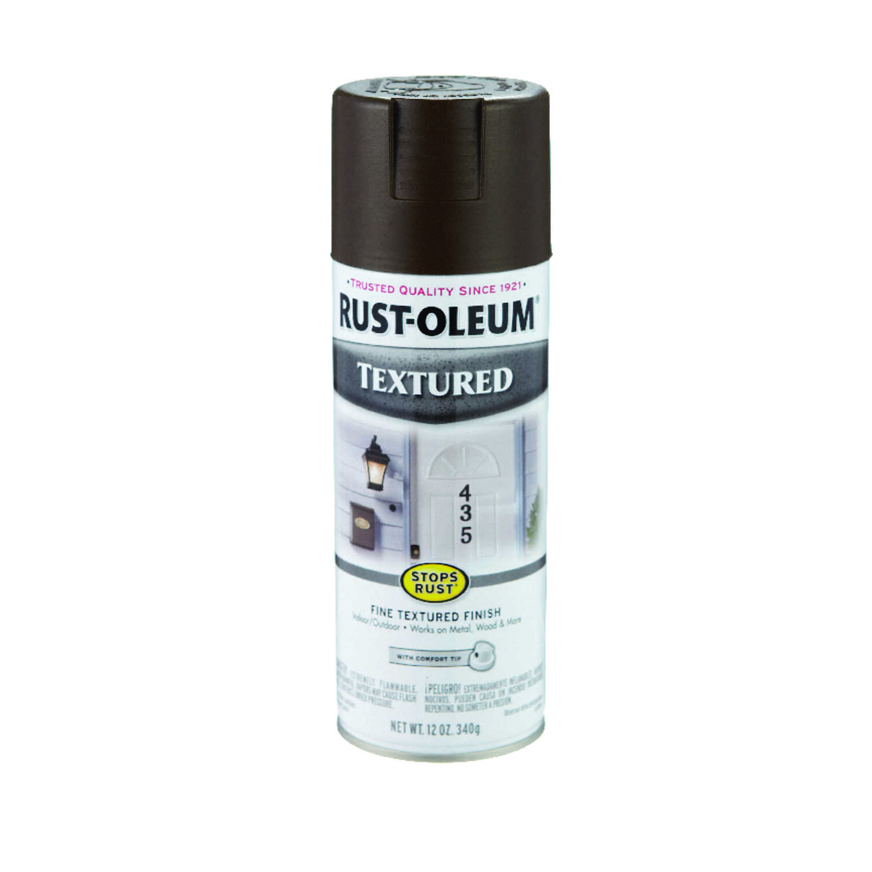 Rust Oleum Stops Textured Dark Brown Spray Paint 12 Oz Ace Hardware