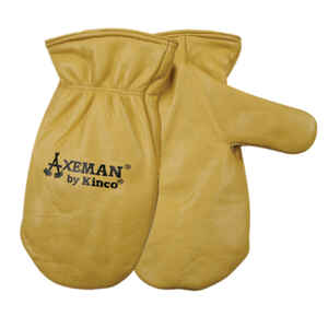 Kinco  Axeman  Men's  Outdoor  Cowhide Leather  Work Gloves  Mittens  Gold  M  1 pair