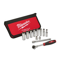 Milwaukee  3/8 in. drive Stainless Steel  SAE  Pivoting  Ratchet Set  12 pc.