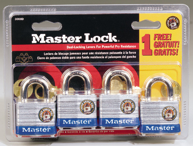 Master Lock  1-5/16 in. H x 1-5/8 in. W Laminated Steel  Padlock  4 pk Keyed Alike Double Locking