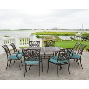 Hanover  9 pc. Bronze  Aluminum  Patio Set  Blue