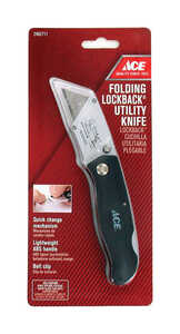 Ace  Folding Lockback  0.5 in. Black  Utility Knife