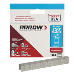 Arrow Fastener  T50  3/8 in. W x 1/2 in. L 18 Ga. Flat Crown  Heavy Duty Staples  1000 pk