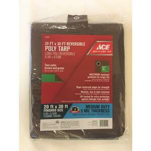 Ace  30 ft. L x 20 ft. W Medium Duty  Brown/Green  Polyethylene  Tarp