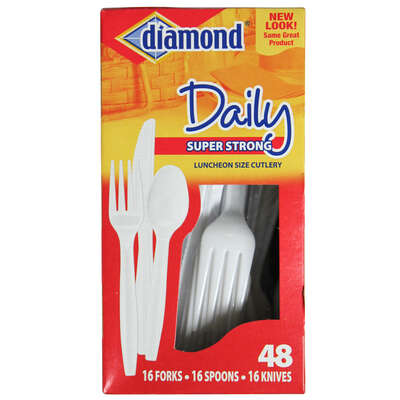 Diamond White Plastic Heavy Duty Cutlery 48 pk