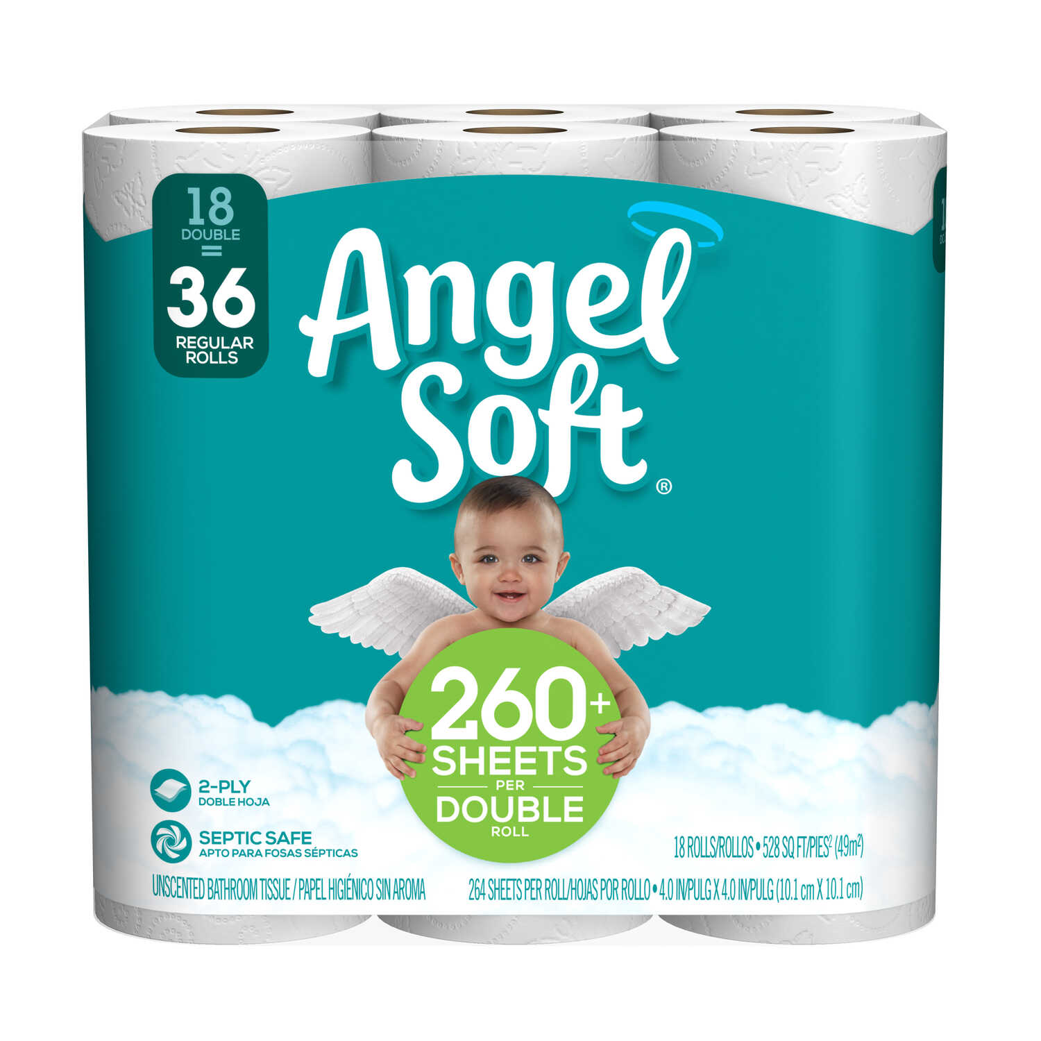 Angel Soft  Toilet Paper  18 roll 264 sheet 528 SQFT