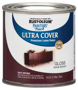 Rust-Oleum  Painters Touch Ultra Cover  Gloss  Kona Brown  Paint  0.5 oz. Indoor and Outdoor
