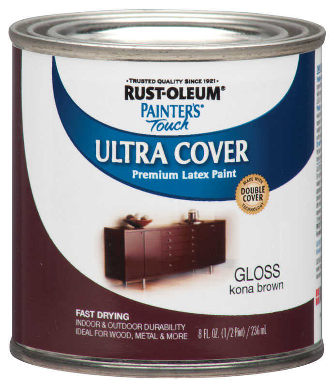 Rust-Oleum  Painters Touch Ultra Cover  Indoor and Outdoor  Gloss  Kona Brown  Paint  8 oz.