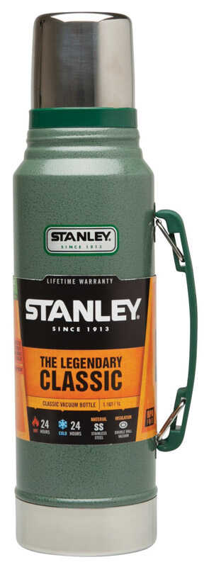 Stanley  Hammertone Green  Stainless Steel  Insulated Bottle  BPA Free 1.1 qt.
