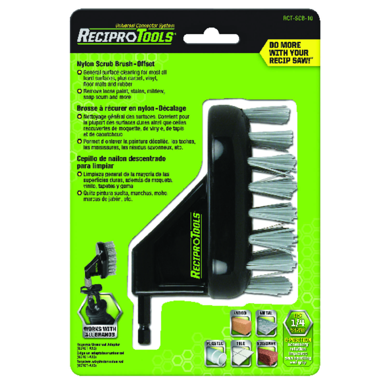 ReciproTools  4 in. Nylon  Offset  Brush  1 pk
