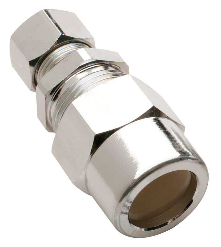 Plumb Pak  1/2 in. Compression   x 3/8 in. Dia. Compression  Chrome Plated Brass  Straight Adapter