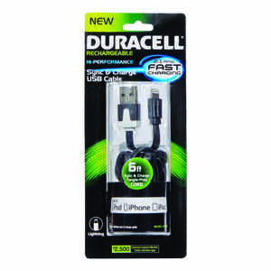 Duracell  Black  Lightning Cable  For iPhone 6 ft. L