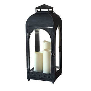 Smart Living  Metal  Solar Lantern  Black