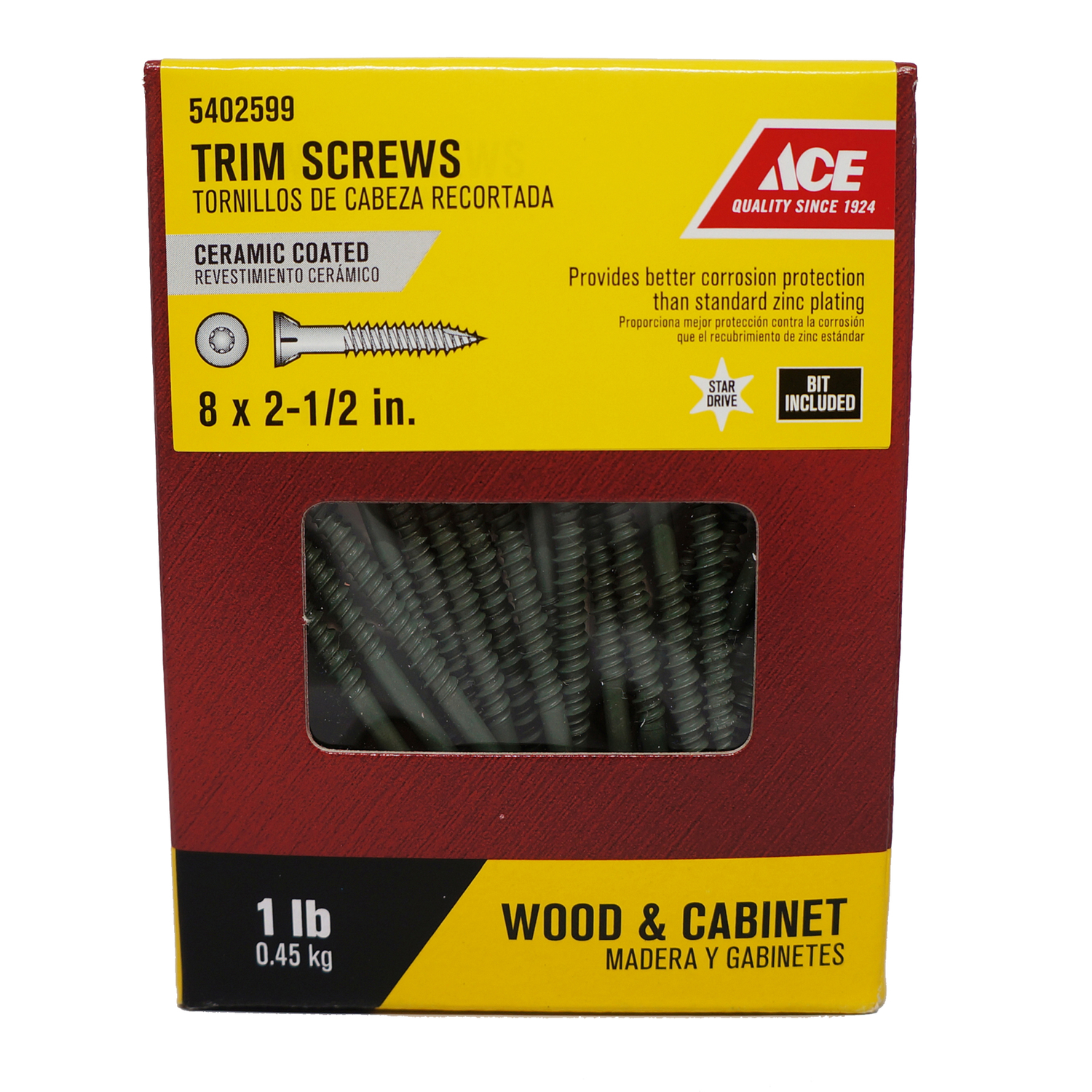 Ace  No. 8   x 2-1/2 in. L Star  Trim Head Ceramic  Trim Screws  1 lb. 1 lb. Steel