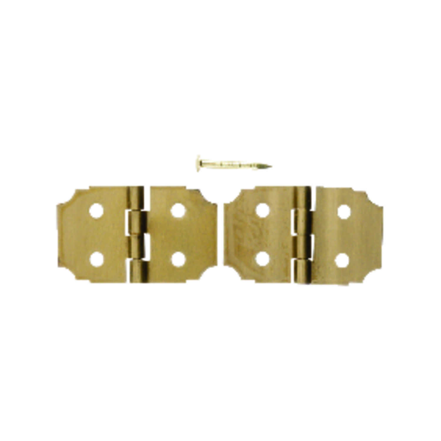 Ace  5/8 in. W x 1 in. L Polished Brass  Brass  Decorative Hinge  2 pk