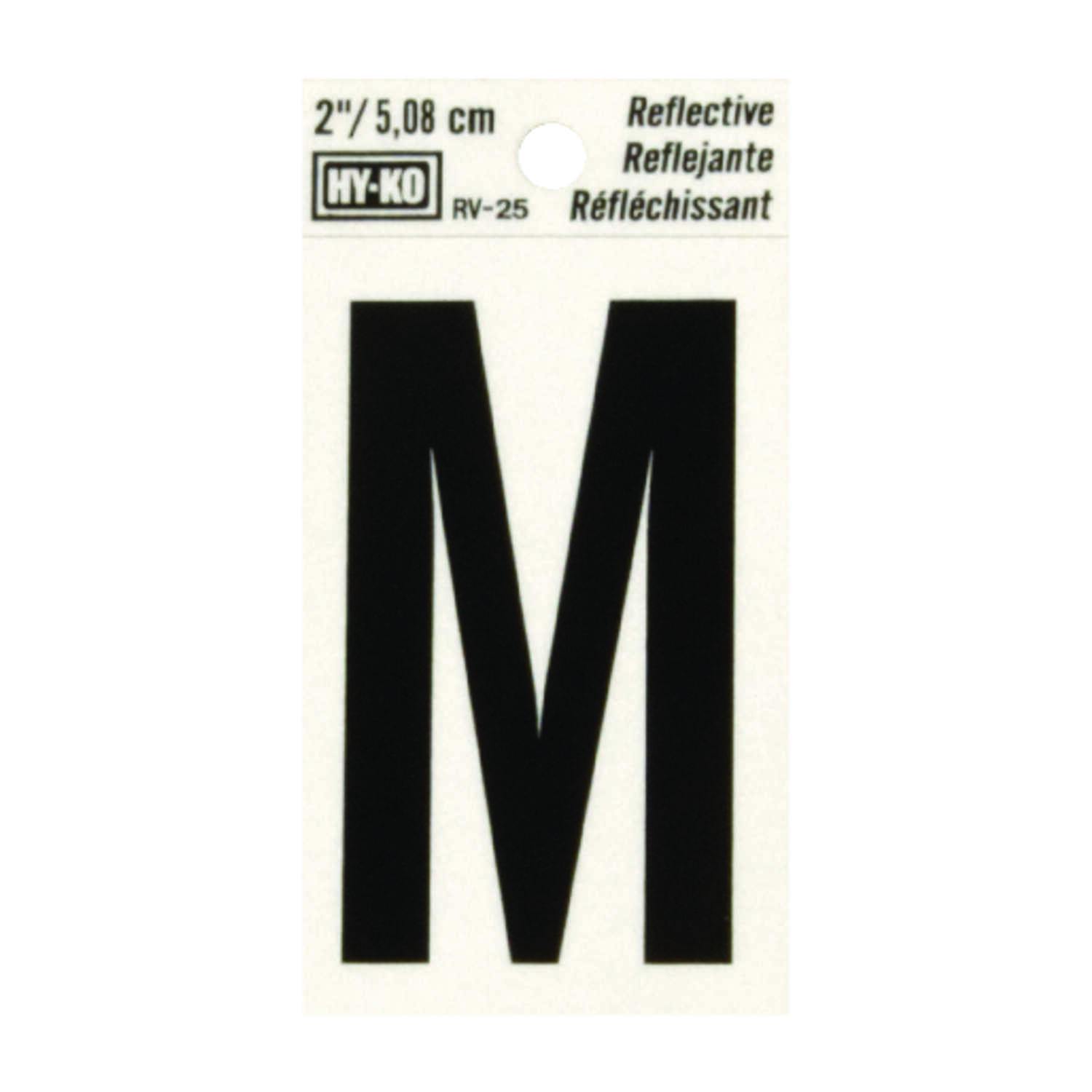Hy-Ko  2 in. Reflective Black  M  Letter  Self-Adhesive  Vinyl