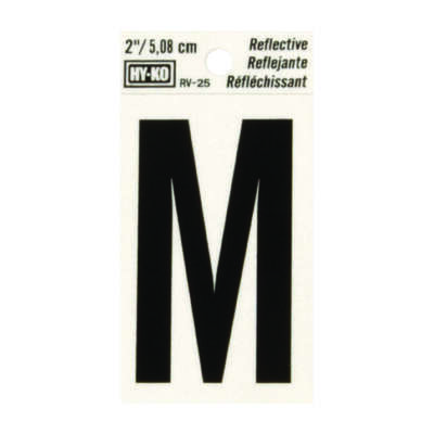 Hy-Ko  2 in. Reflective Black  Vinyl  Self-Adhesive  Letter  M  1 pc.