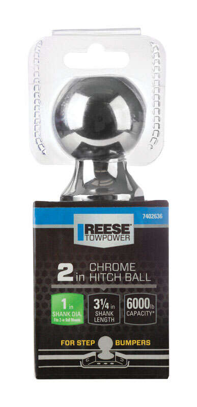 Reese  Towpower  Chrome Plated Steel  Standard  2 in. Trailer Hitch Ball